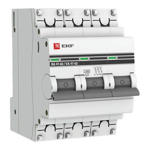 Автоматический выключатель ВА 47-63, 3P 16А (C) 4,5kA EKF PROxima