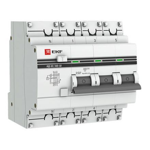 Дифференциальный автомат АД-32 3P+N 16А/30мА (хар. C, AC, электронный, защита 270В) 4,5кА EKF PROxim